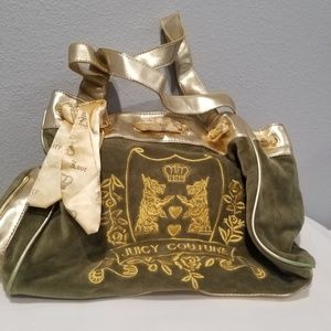 Juicy Couture Green Velour Gold Leather Yorky Bag